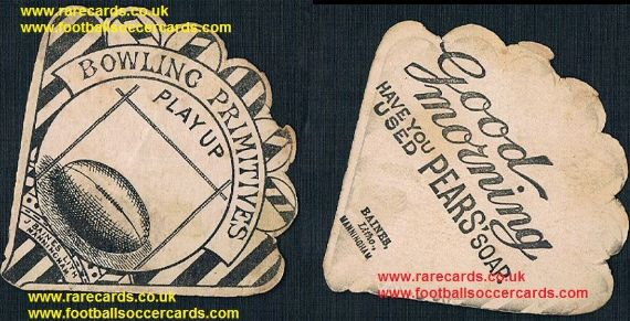 1880s Baines Manningham fan-shape card Bowling Primitives rugby team